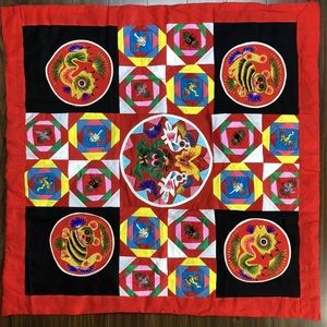 Chinese Hand Made Quilt Square 3D embroidered